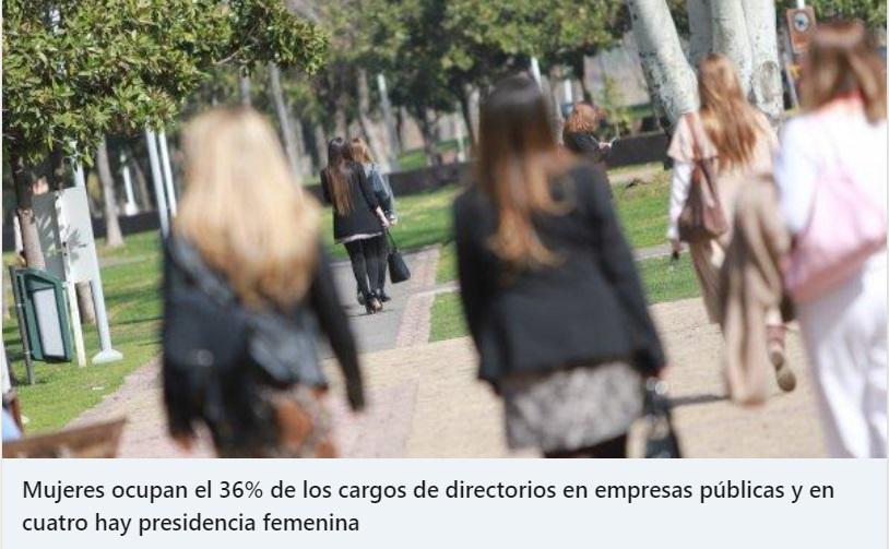 Mujeres ocupan el 36% de los cargos de directorios en empresas públicas y en cuatro hay presidencia femenina